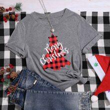 Camiseta con estampado de arbol de navidad con slogan