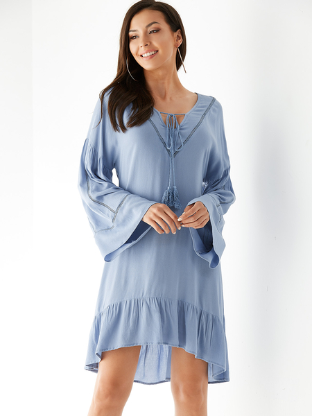 YOINS Blue V-neck Long Sleeves Flounced Hem Dress