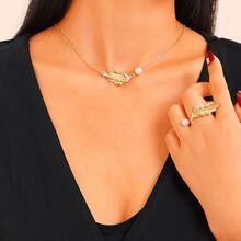Collar de cadena colgante de hoja y perla artificial con anillo 2 piezas