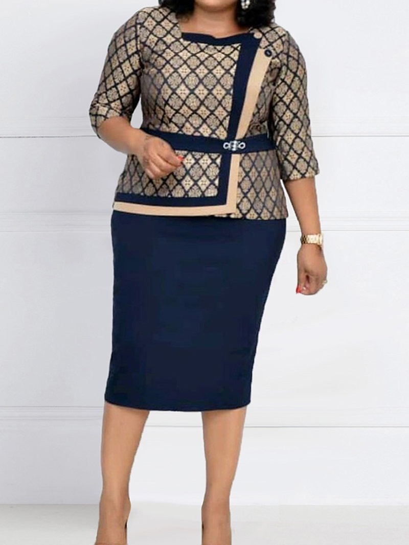 Ericdress Office Lady Patchwork Skirt Bodycon Two Piece Sets