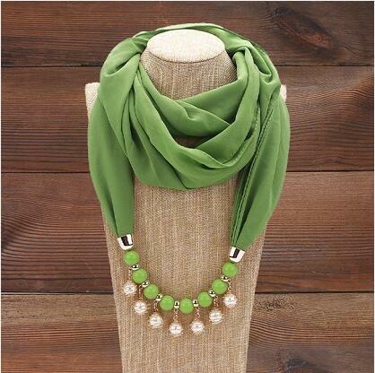 Ethnic Sunscreen Scarf Necklace Pearl Tassel Pendant Chiffon Multi-layer Necklace