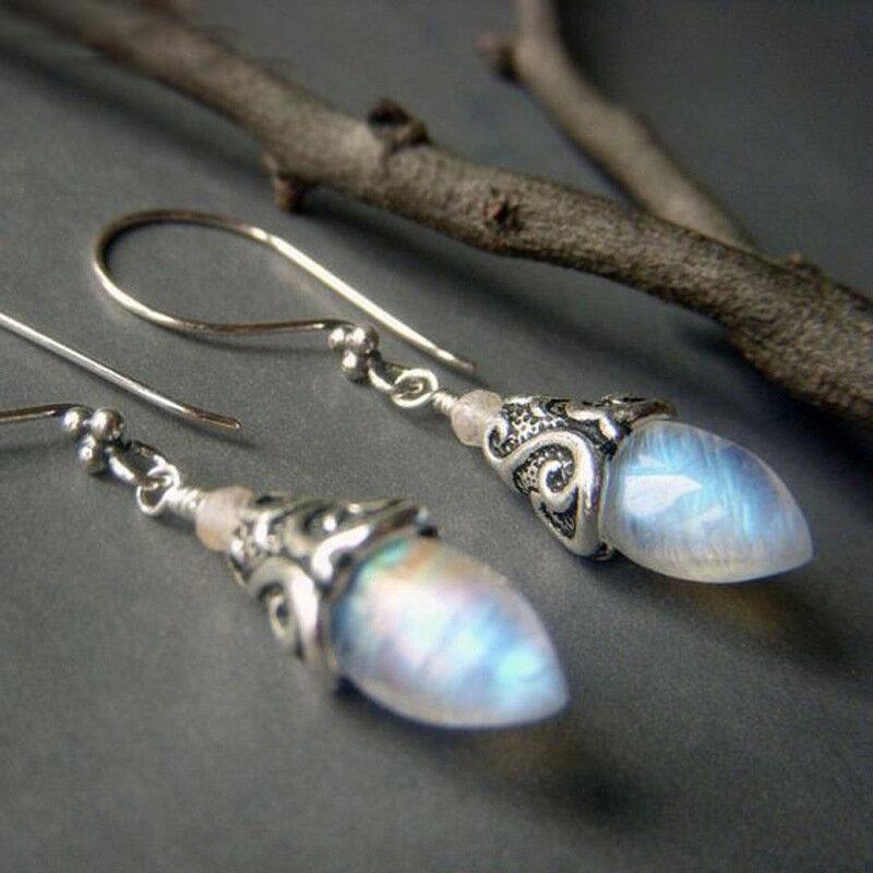 Vintage Geometric Colorful Crystal Gemstone Earrings Metal Moonstone Pendant Earrings