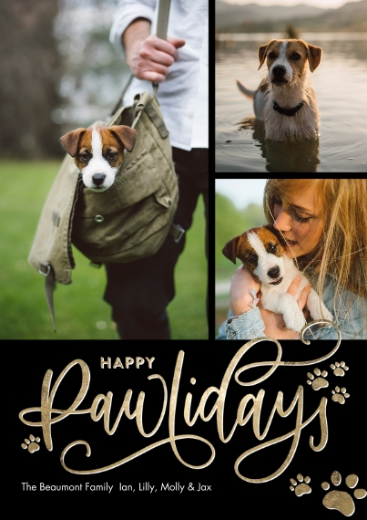 Holiday Photo Cards 5x7 Cards, Premium Cardstock 120lb with Scalloped Corners, Card & Stationery -Holiday Happy Pawlidays Prints by Tumbalina