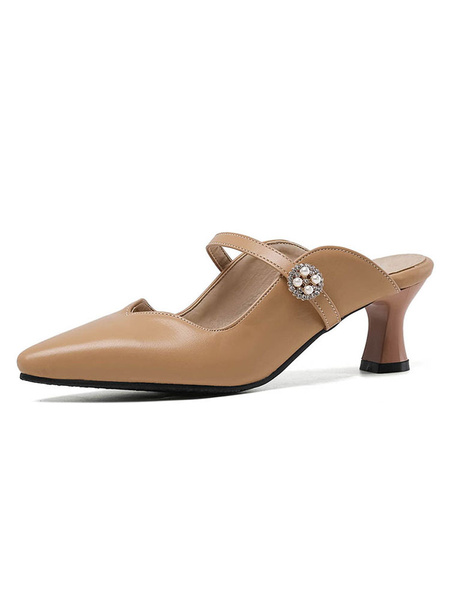 Milanoo Black Pointed Toe Mules Shoes Low Heel Buckles Strap Women Chunky heel Shoes