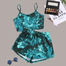 Tie Dye Cami Top With Knot Shorts