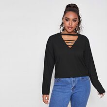 Plus Cut Out Neck Solid Tee