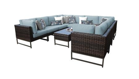 Barcelona BARCELONA-11a-BRN-SPA 11-Piece Patio Set 11a with 4 Corner Chairs  6 Armless Chairs and 1 Coffee Table - Beige and Spa Covers with Brown