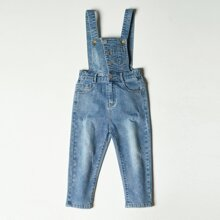 Toddler Girls Button Front Ripped Denim Overall