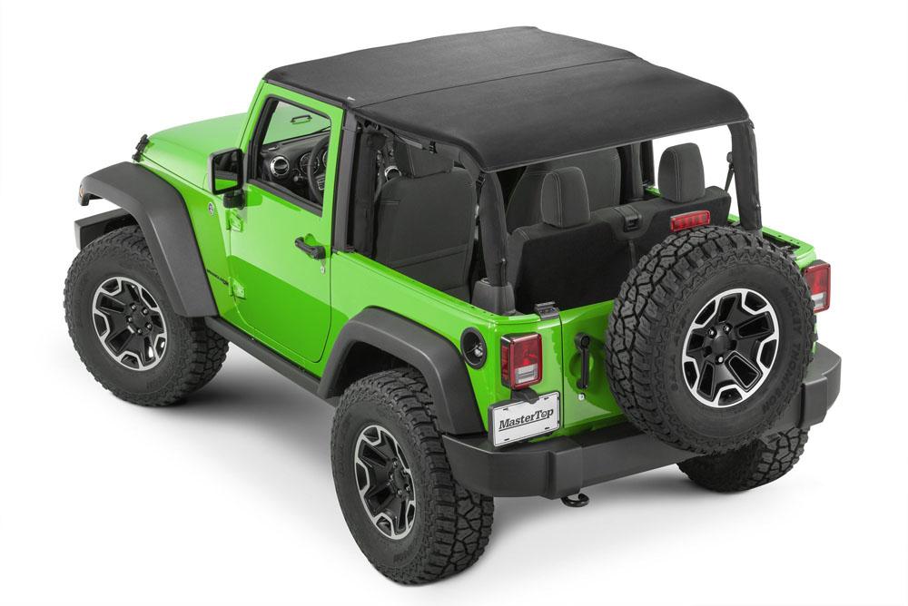 MasterTop 14300324 Jeep JK Cable Style Bimini Top Plus For 2007-2009 Wrangler JK 2 Door w/Header Includes Conversion MasterTwill