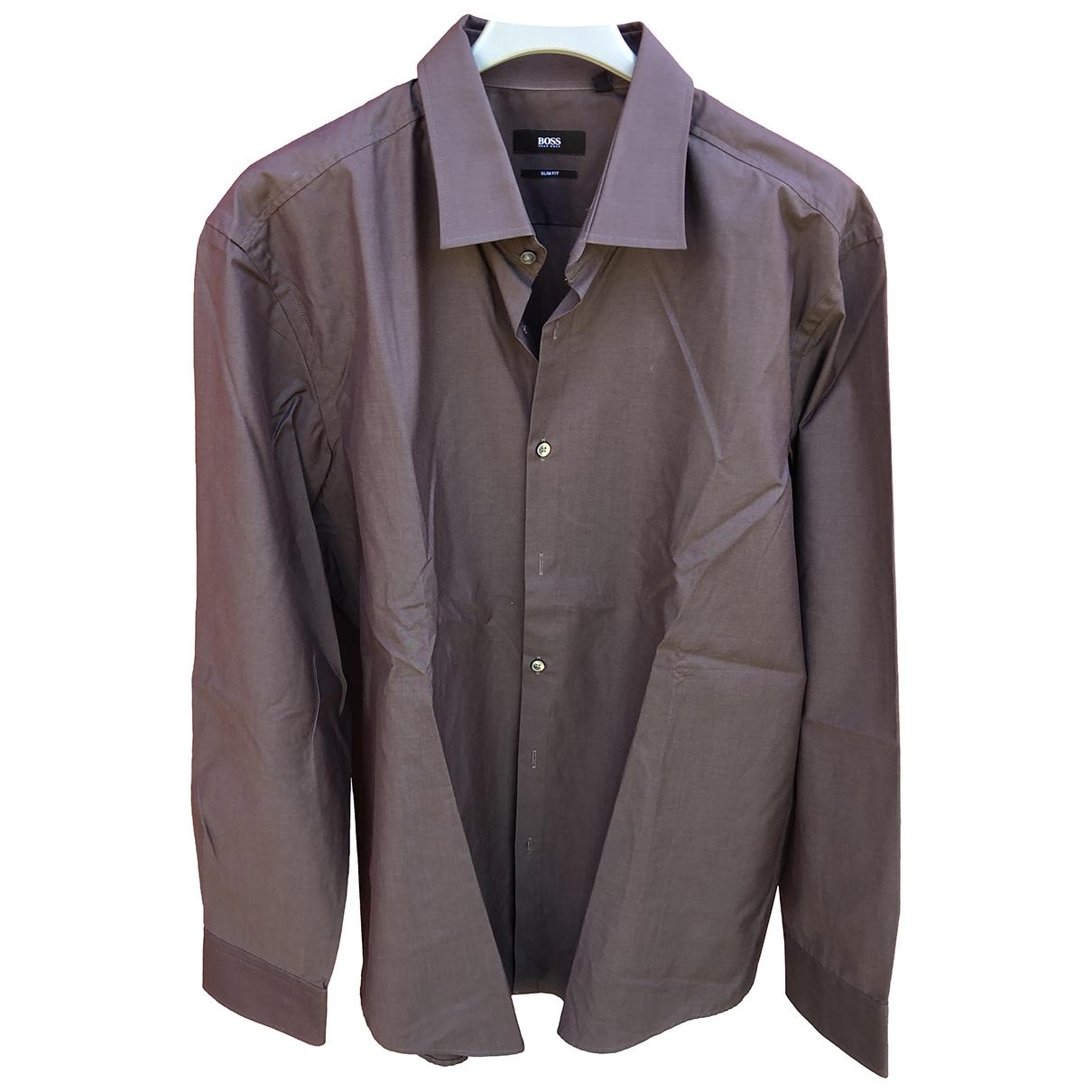 Boss \N Brown Cotton Shirts for Men 17 UK - US (tour de cou / collar)