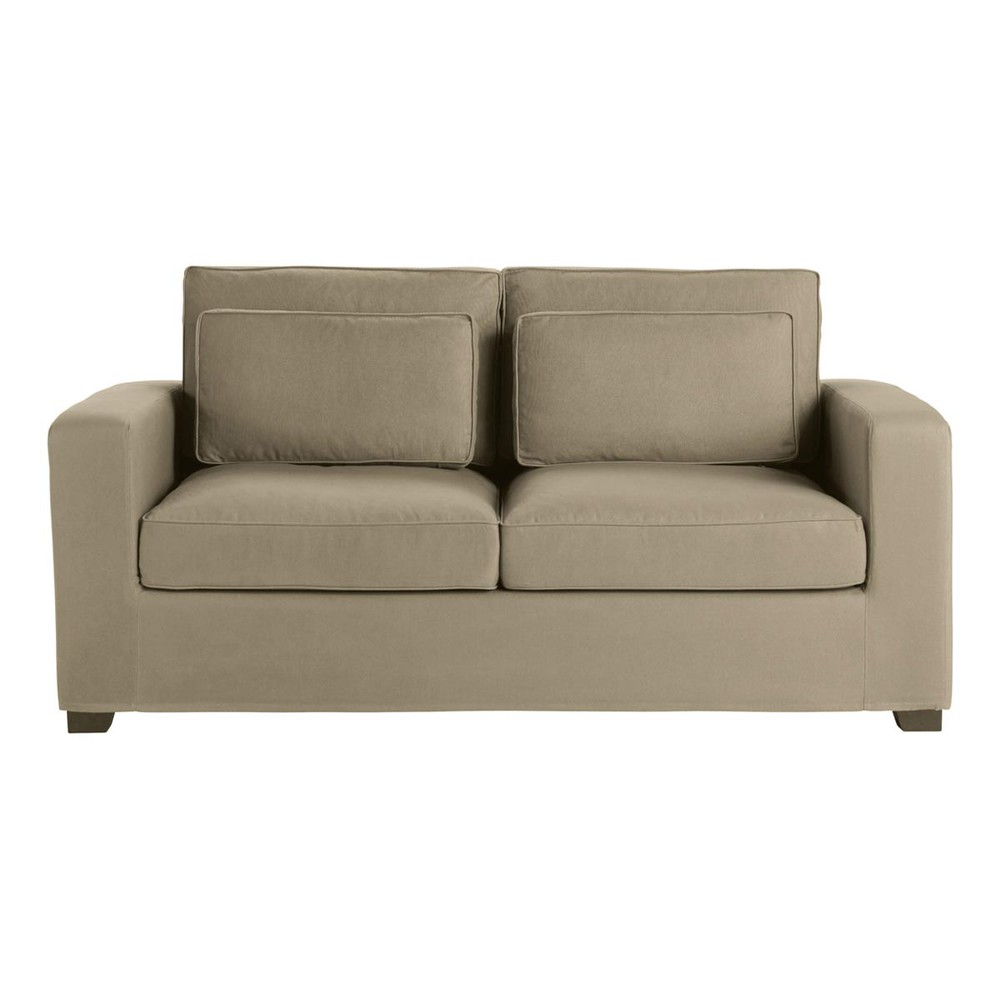 Sofa 3-Sitzer aus Baumwolle, taupe Milano