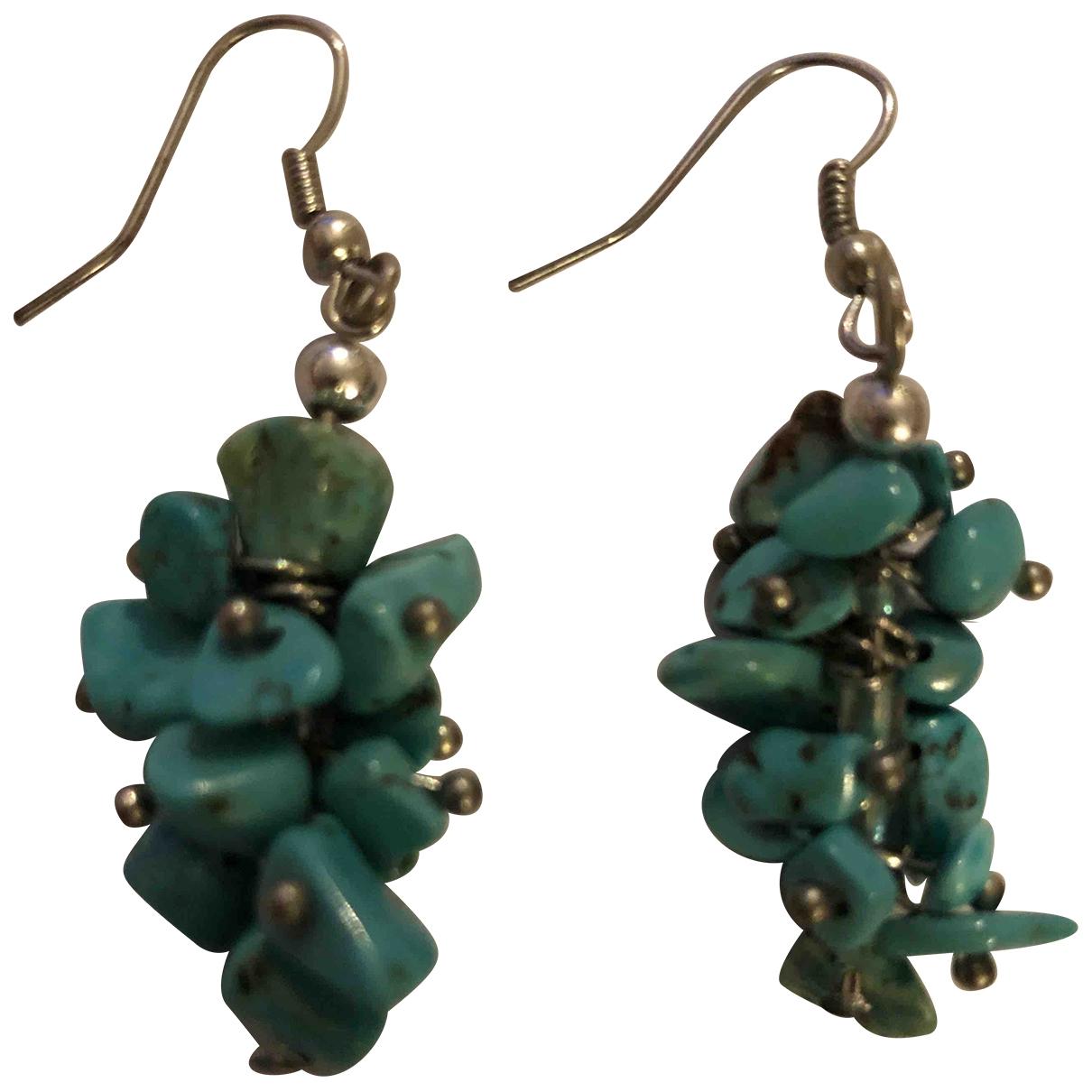 Non Signe / Unsigned Turquoises OhrRing Blau