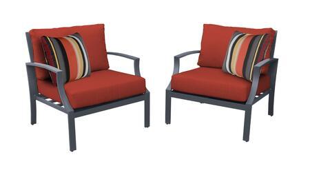 Lexington LEXINGTON-02b-TERRACOTTA 2-Piece Aluminum Patio Set 02b with 2 Club Chairs - Ash and Terracotta