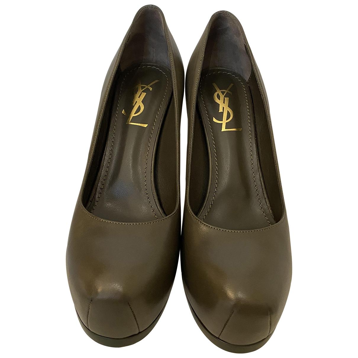 Yves Saint Laurent - Escarpins Trib Too pour femme en cuir - kaki