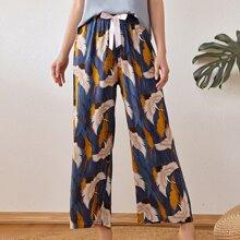 Hose mit Kranich Muster und Band vorn
