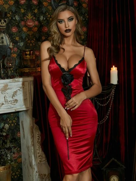 Yoins Deep V-neck Backless design Sleeveless Midi Dress
