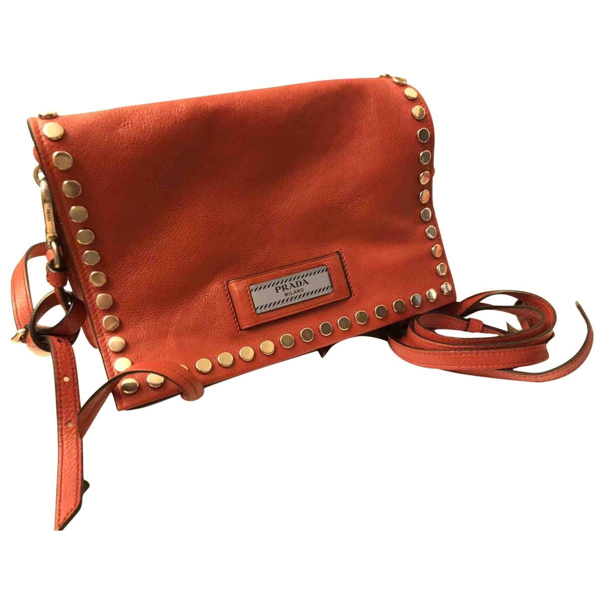 Prada - Sac a main Etiquette pour femme en cuir - rouge