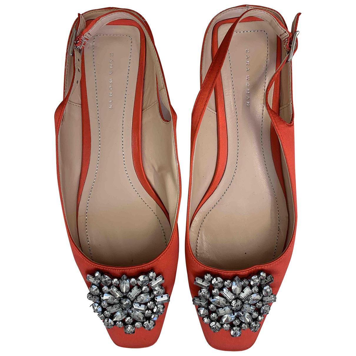Zara N Orange Cloth Flats for Women 36 EU