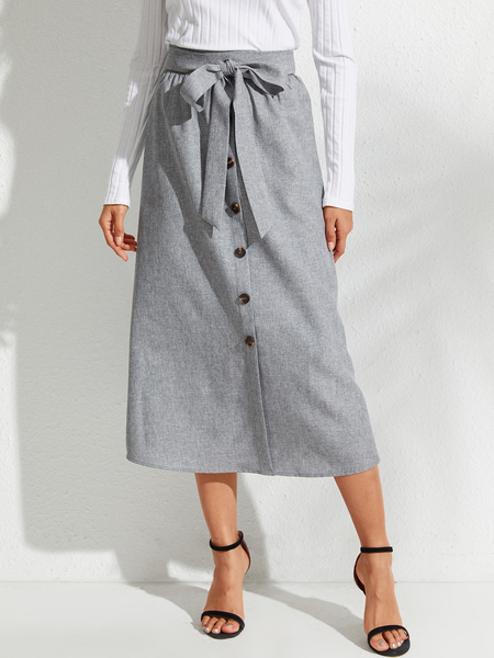 YOINS Grey Belted Front Button High-Waisted Skirt
