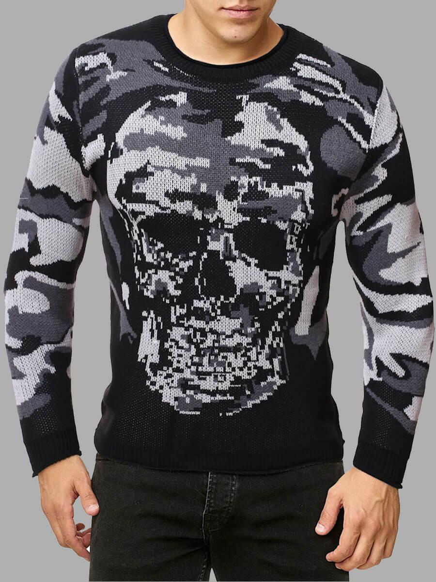 LW Lovely Casual Skull Camo Print Grey Men Sweater