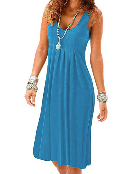 Yoins Casual Round Neck Ruched Sleeveless Thick Strap Dress