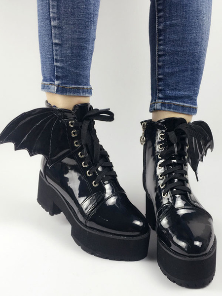 Milanoo Gothic Lolita Booties Round Toe Chunky Heel Lace Up Leather Grommets Black Lolita Ankle Boots