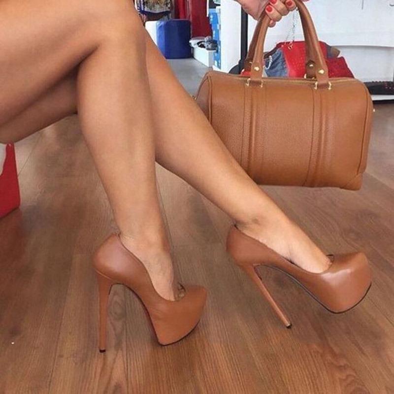 Ericdress PU Platform Round Toe Stiletto Heel Women's Pumps