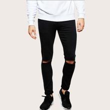 Schwarz Gerissen  Einfarbig Laessig Maenner Jeans