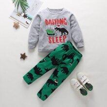 Toddler Boys Letter & Dinosaur Sweatshirt With Sweatpants