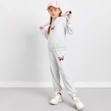 Conjunto capucha con bolsillo con estampado de mariposa con pantalones deportivos