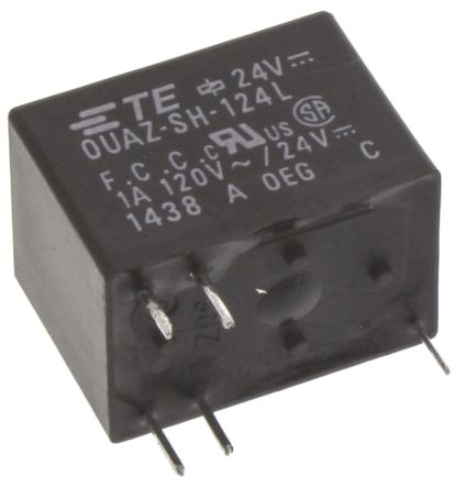 TE Connectivity , 24V dc Coil Non-Latching Relay SPDT, 1A Switching Current PCB Mount Single Pole (25)