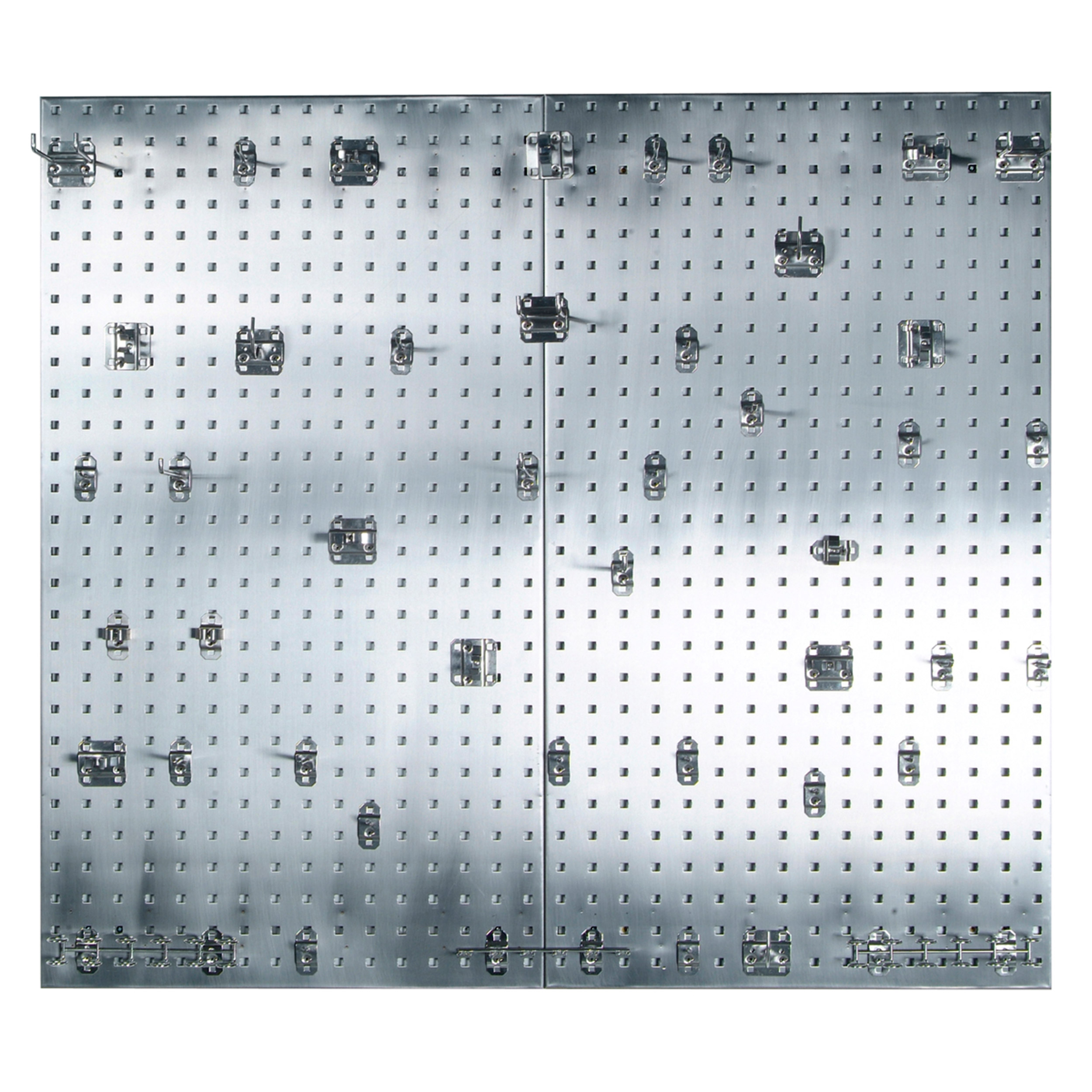 (2) 24 In. W x 42-1/2 In. H x 9/16 In. D 304 Stainless Steel Square Hole Pegboards with 45 pc. Stainless LocHook Assortm