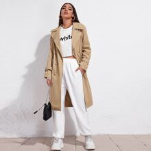 Double Button Raglan Sleeve Trench Coat