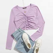 Button Front Ruched Crop Top