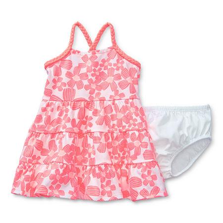 Okie Dokie Baby Girls Sleeveless Babydoll Dress, 12 Months , Pink