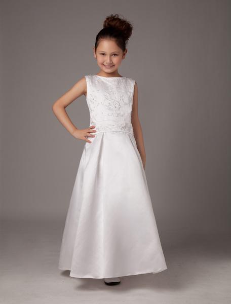 Milanoo Grace A-line White Satin Ankle-Length First Communion Dress