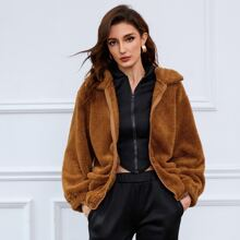 Zip Up Drop Shoulder Patch Pocket Teddy Coat