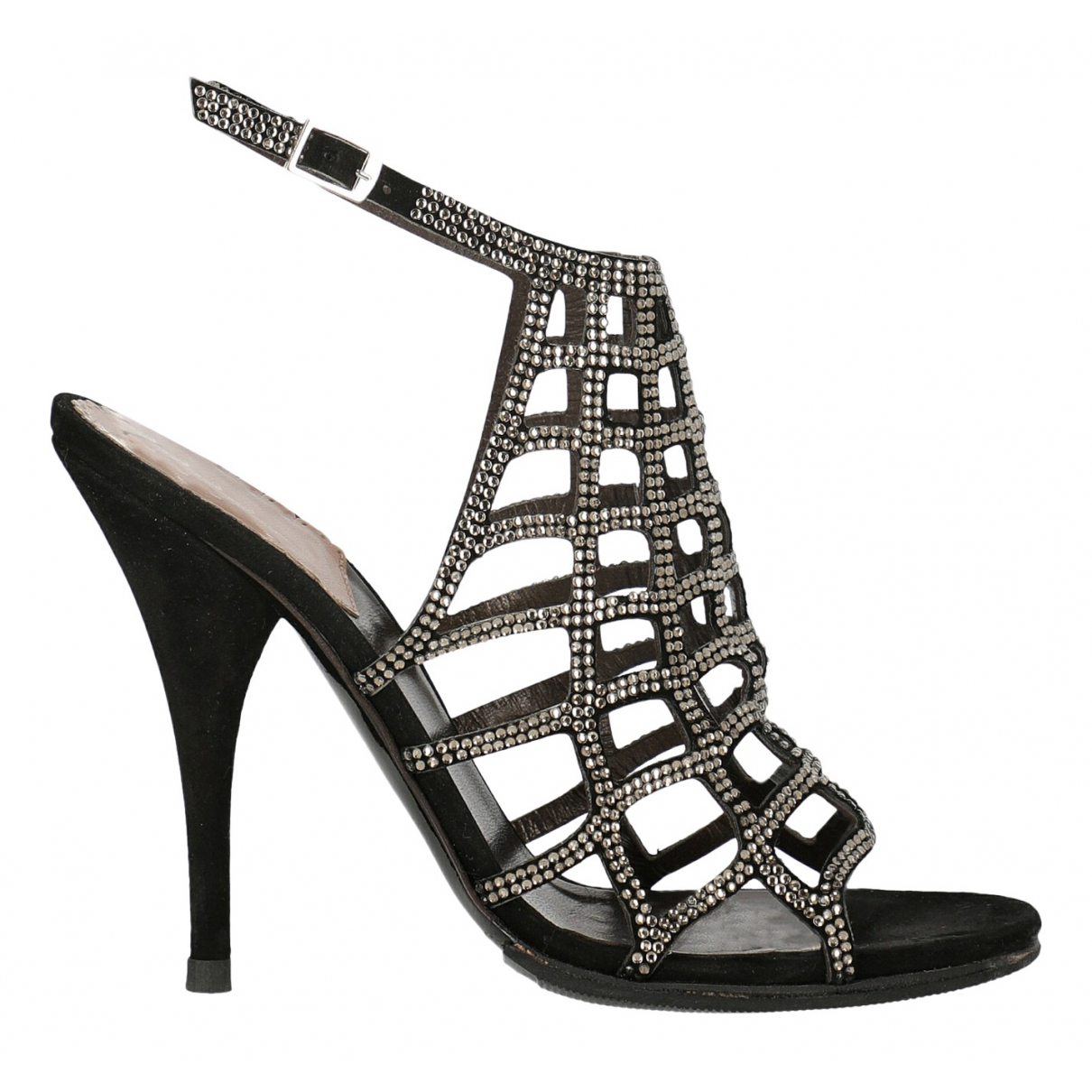 Roberto Cavalli \N Black Leather Sandals for Women 36.5 IT