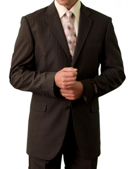 3 Button Brown Front Closure Suit Mens Cheap