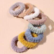 8 Stuecke Haarband mit Kunstpelz Dekor