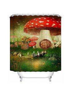 Fantastic Rural Style Fairytale Big Mushroom 3D Shower Curtain