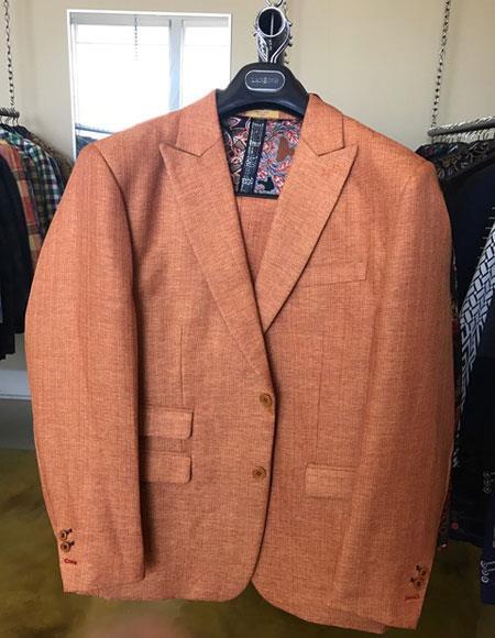 Mens Linen Summer Fabric 2 Buttons Peak lapel Suit Ticket Pocket