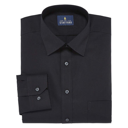 Stafford Travel Easy-Care Stretch Broadcloth Big And Tall Mens Point Collar Long Sleeve Wrinkle Free Stretch Dress Shirt, 18.5 38-39, Black
