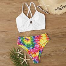 Bikini mit Band vorn und zufaelligem Batik