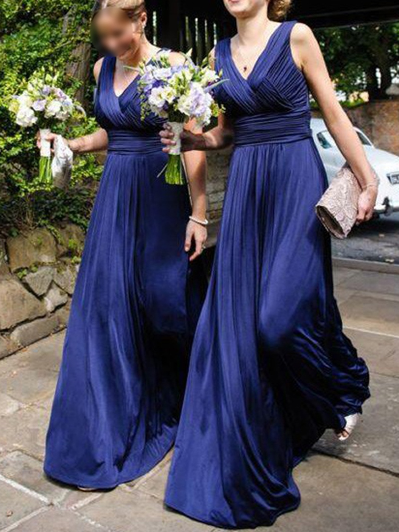 Sleeveless A-Line V-Neck Ruched Bridesmaid Dress