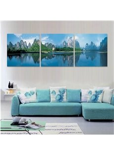 Mountain and River Scenery Pattern Hanging 3-Piece Canvas Waterproof and Eco-friendly Framed Prints