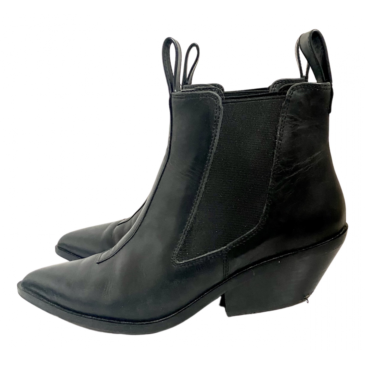 & Stories N Black Leather Ankle boots for Women 40 EU