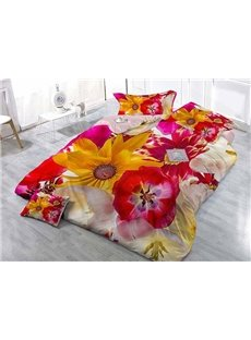 Superb Satin Drill Floral Wear-resistant Breathable High Quality 60s Cotton 4-Piece 3D Bedding Sets