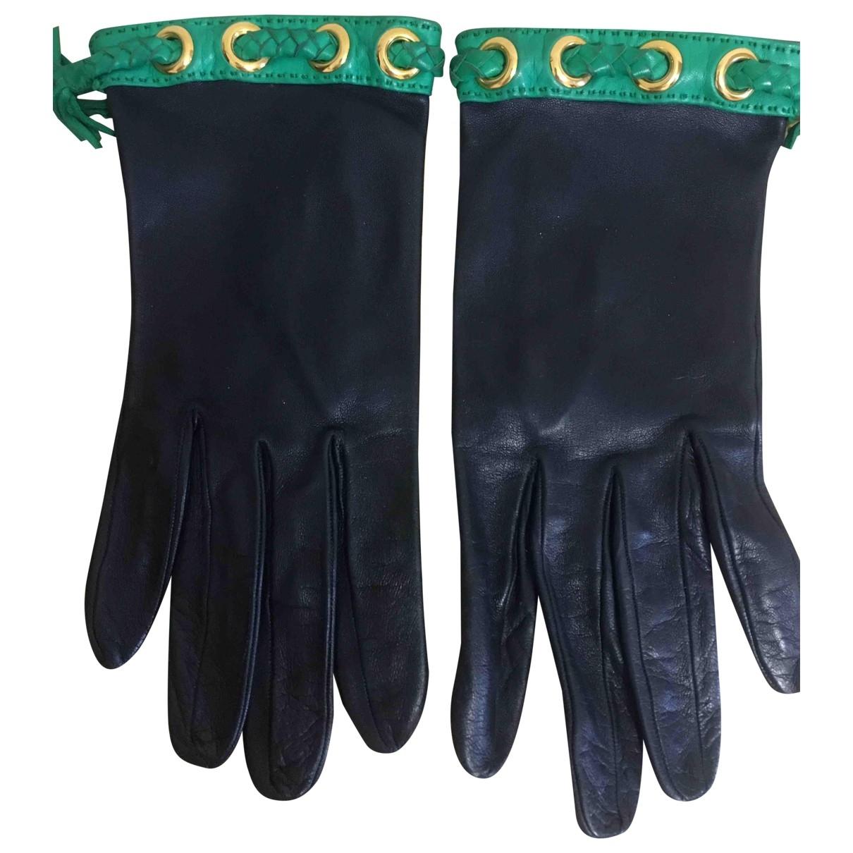 Hermès \N Blue Leather Gloves for Women M International