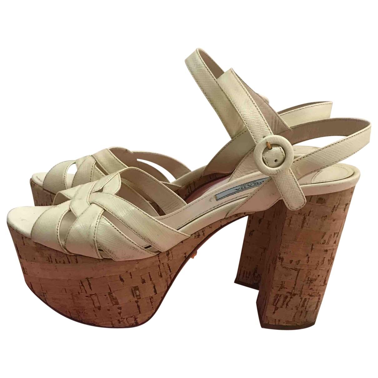 Prada \N White Leather Sandals for Women 37 EU
